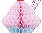 Ice Cream Centerpiece 14 inches tall Ice Cream Sundae Parlor Honeycomb Tissue 3D with Straw, set of 3 FREE SHIPPING