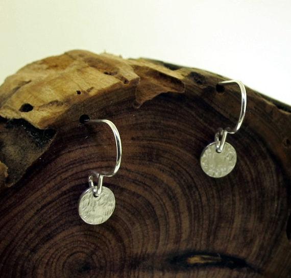 Linen Texture Earrings - petite dangles - sterling silver by Kathryn Riechert