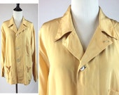 Vintage Buttercup Yellow Silk Pajama Top for Men - Three Pockets, Pointed Collar, Shell Buttons, Soft Sheen, Pointed Seams, Beautifully Made