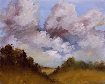 Yellow Hills, Fields, Trees, Blue Sky,  Original Oil Painting, Landscape Painting, Home, Office, Decor, Winjimir, Country, Farmland,  8x10