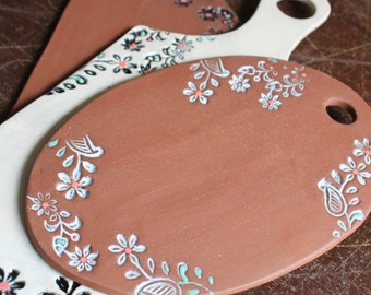 Floral Impressed Cheese Board by Ceramic Artist Tasha McKelvey