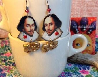 William Shakespeare Earrings poet playwright actor The Bard  Hamlet, Othello, King Lear, Macbeth
