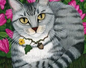 Tabby Cat Art Garden Azalea Flowers Fantasy Cat Art Print 12x16 Art For Cat Lovers Gift