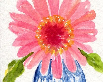 ACEO Big Pink Gerbera Daisy in Blue and White Vase original watercolor