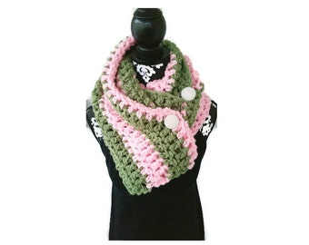 Alpha Kappa Alpha Pink and Green Buttoned Scarf Chunky Scarf with Pearl Buttons