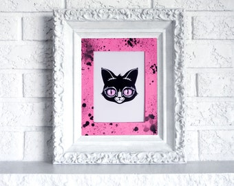 Cat Print in Hand Painted Mat - Ready to frame art print with pink and black mat