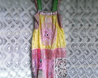 Swan Dress, Hand Beaded, Yellow lace, Pink Silk Brocade, Vintage Lace, Pink, Lacy Boho Dress