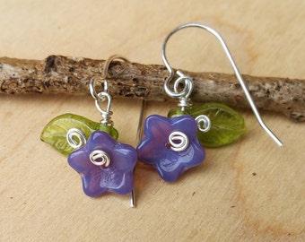 Little Violet Purple Glass Flower and Leaves Earrings,  Deep Lavender Periwinkle Czech Glass Beads Silver Wire Wrapped Dangle Earrings, Girl