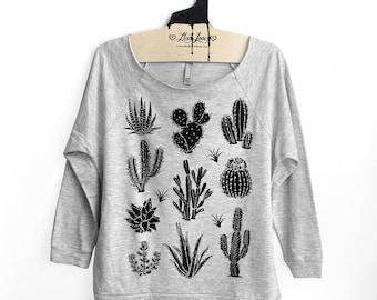 S,M,L- Heather Gray Terry Raw-Edge 3/4-Sleeve Raglan with Cactus Screen Print