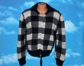 Cowichan Handmade Handknit Checkered Full Zip Sweater Vintage 1960s - 1970s