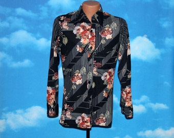 Squire Floral Stretchy Disco Polyester Shirt Vintage 1970s