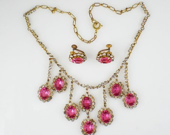 Vintage Pink Rhinestone Necklace & Earrings Demi Parure Vintage Jewelry