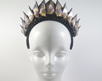 Raw Amethyst on Black Blade Crystal Crown - by Loschy Designs