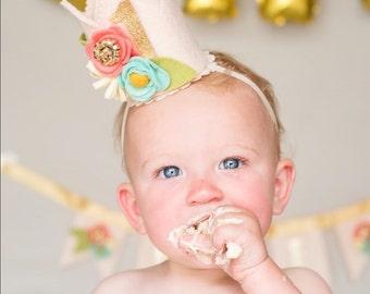 Birthday Flower Crown, Girl Birthday, Photo Prop, Flower Crown, Birthday Crown, First Birthday, First Birthday Crown, Girl Birthday Crown