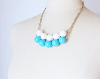 Turquoise Necklace, Vintage chunky Lucite bead strand necklace, minimalist layered necklace, bead row necklace, Birthday gift for her