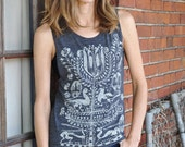 Tree of Life Bohemian Hand Printed Muscle Tee Yoga Top