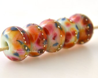 glass lampwork beads MERRY KINGDOM handmade Set blue pink peach- TANERES - glossy or matte