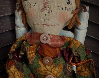 VERY Primitive, Early American, Raggedy Ann, Vintage, Antique, Fall, Leaf, Pumpkin, TeamHAHA, Hafair, Old Cloth, Rag Doll by Mustard Seed Or