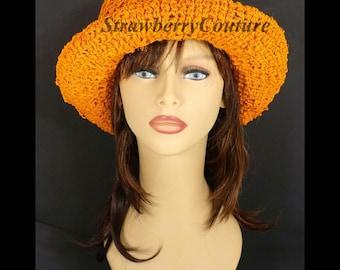 Crochet Sun Hat for Women, Floppy Sun Hat, Floppy Hat, Womens Hat, Womens Crochet Hat, Orange Hat, Hemp Hat, Moncherie Wide Brim Hat
