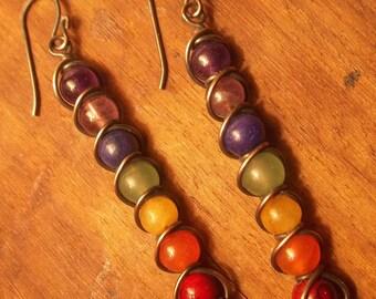 Gemstone and Copper Chakra Earrings