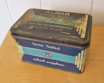 vintage Alpha dustless crayon tin