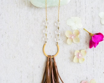 Mixed media Leather Tassel and Crystal  Necklace, Leather Tassel Necklace, Crystal Bead Necklace
