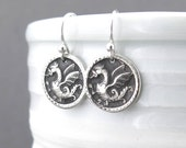 Silver Dragon Earrings Dragon Jewelry Tiny Silver Earrings Modern Jewelry Fantasy Mystical Miniature Handmade Jewelry Holiday Gift for Women