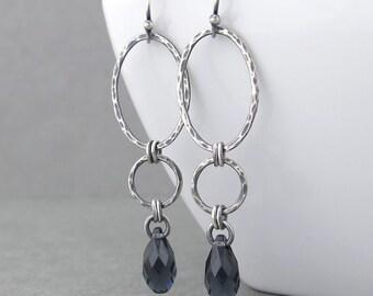 Long Earrings for Women Silver Drop Earrings Gray Crystal Earrings Graphite Gray Earrings Geometric Jewelry Gift for Her - Adorned Aubrey