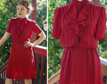 RASPBERRY 1970's 80's Vintage Deep Berry Red Striped Secretary Dress with Short Sleeves + Ruffles // size Small Med // by ORITE