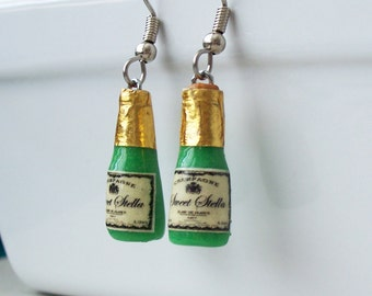 Champagne Bottle Dangle Earrings - polymer clay miniature food jewelry