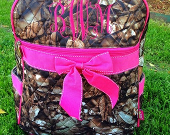 Camo Backpack Personalized Monogrammed Quilted Camoflage Backpack Diaper Bag Includes Monogram Large School Backpack