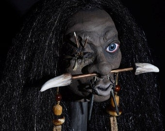 Hand Sculpted Open Eye Shrunken Head with Stand, Mere Immortals by Lynne