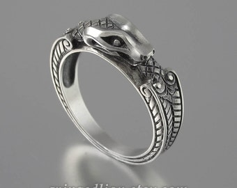 size 12.75 Ready to ship OUROBOROS silver unisex Snake ring