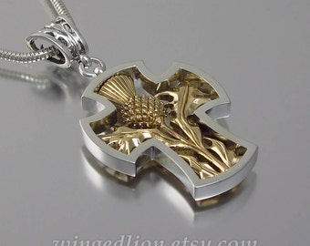 THISTLE CROSS silver and 14K yellow gold pendant
