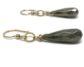 Gold Teardrop Earrings, Gifted Collection, Faceted, Pyrite, Gemstone, Wire Wrapped, Gold Filled, Classic, Elegant