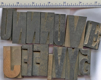 Lot of (14) Vintage  Printers Blocks Wood  LARGE VARIETY of Letters  2 inches 1 3/4 inches 2060bb