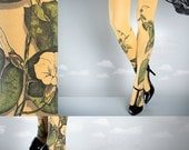 Tattoo Tights -  Climber Plant mustard one size full length closed toe pantyhose tattoo socks ,printed tights