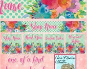 Dots and Flowers watercolor floral Etsy shop Banner graphics set by Sea Dream Studio  OOAK