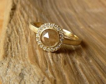 Rose Cut Diamond and Pave Set Halo Ring - Deposit