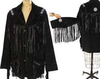 80s Fringed & Beaded Suede Jacket / Vintage 1980s Scully Native American Fringe Black Leather Rocker Hippie Boho Southwestern Coat / Large