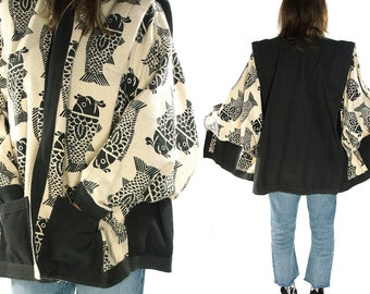 80s Modernist Art to Wear Cocoon Coat / Vintage 1980 Linen Jacket with Batwing Sleeves / Black & White Bohemian Ethnic Asian Duster / Large