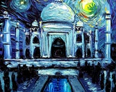van Gogh Never Saw Taj Mahal - Art Giclee print reproduction by Aja 8x8, 10x10, 12x12, 20x20, and 24x24 inches choose your size