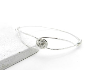Silver Bangle Bracelet, Hammered Silver Bangle, Minimalist Jewelry, Silver Rose Bangle, Flower Bracelet, Silver Jewelry, By Durango Rose