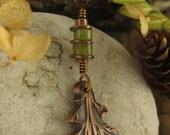 Faerie Oak Leaf Pendant in Copper, Leaf Necklace, Leaves, Irish Celtic Jewelry, Oak Jewelry