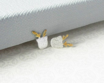 Sterling Silver Tiny Potted Plant Ear Studs