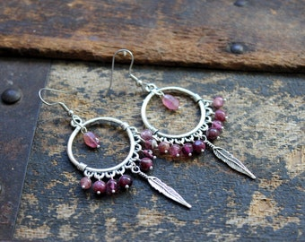 Pink Tourmaline Chandelier Earrings with Feather Charms