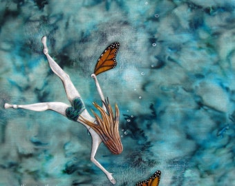 Lost and Found, monarch butterfly wings, spring summer, swim diver, aqua blue water, Original Fabric on Wood art box