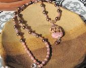 Half Off! Pink & Brown lampwork pendant necklace - Lisa New Design Artisan jewelry