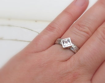 Princess Square White Topaz Solitaire Ring with Olive Leaf Band Modern Alternative Egangement Ring or Sterling Silver Stacking Ring