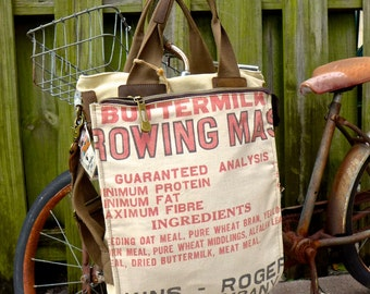 Buttermilk Growing Mash - Perkins Roger Co - Americana Vintage Seed Feed Sack Book Tote W- OOAK Canvas & Leather Tote... Selina Vaugha